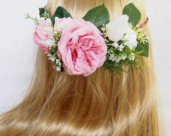 pink roses flower crown, lily of the walley flower crown, wedding flower crown, bridal hairpiece, pink flower crown