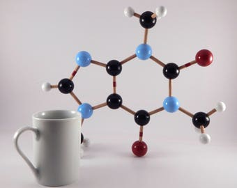 Caffeine molecular model - handmade - coffee - wood vintage-look - science decor - chemical structure - mid-century modern sculpture - prop