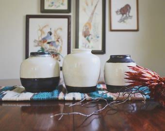 vintage handmade pottery vase 70's pottery vase ceramic vase boho decor signed pottery vases for centerpieces table centerpieces black white