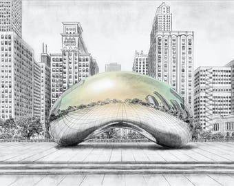 The Bean Illustrated Print