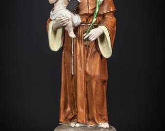 "RARE 14"" Saint Anthony with Child Jesus Antique Bisque Porcelain Statue Christ Figure"
