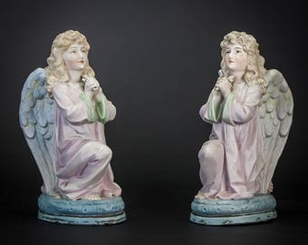 Pair of Beautiful French Antique Bisque Porcelain Kneeling and Praying Angels