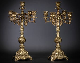 """19"""" Stunning Pair of Antique Baroque Gilded Bronze 5 Tier Arms Candelabras Gilt Candle Holders"""