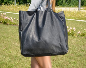Large Black leather tote bag, Large  leather tote, leather tote bag, black tote,  Tote bag leather, Tote bag, Leather Bag - TORINO XXL Bag