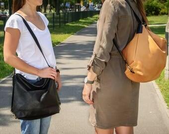 LEATHER BACKPACK Women Backpack Crossbody convertible backpack purse Black Shoulder bag Hobo handbag Large backpack Large Hobo - MODENA Bag