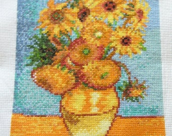 The sunflowers by Van Gogh, cross stitch picture