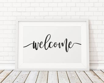 Rustic Welcome Sign/ Welcome Printable Art/ Welcome Sign/ Welcome Print/ Entryway decor/ Calligraphy Print/ Wedding Welcome Sign/ wall art
