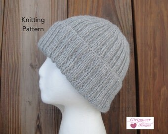 Ribbed Hat Knitting Pattern, Easy Knit, Watch Cap Beanie Toque Toboggan Stocking, Worsted Weight Yarn