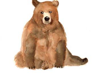 Bear art print , nursery woodland animal , watercolor bear painting , forest animal art print , digital print download