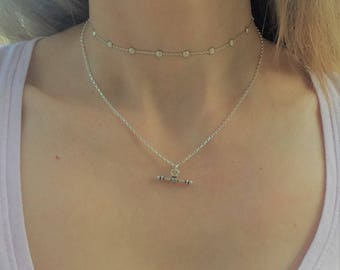 Silver Bar necklace, Dainty Necklace, Layering Necklace, Dainty Bar, Sterling silver necklace, minimalist necklace  simple necklace