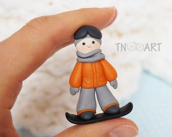 Snowboarder Boy Brooch / handmade polymer clay jewelry / Cute Lovely Pin girly blue rose pink colors snowboard