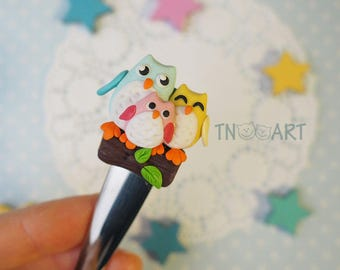 Charming Owls Family spoon / happy together spoon with decor from polymer clay, sweet tasty tea spoon, handmade, polymer clay dessert spoon