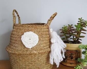 Foldable basket ball Thai - storage Bohemian - ethnic - Willow - tassels - S