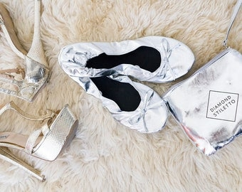 6 Pairs of Silver Foldable Shoes