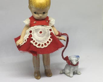 Antique All Bisque Small Doll With A Puppy - Made In Japan circa 1920