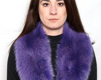 Elegant Lilac Electric Fox Fur Collar