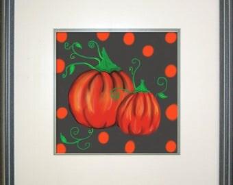 Pumpkins ,Wall Decor,Orange Polka dot, Custom, Art print , Canvas, Original, Fall, Seasons, Thanksgiving, Seasons, Art,