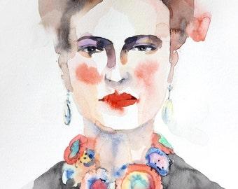 Frida No.2 ,Giclee Print, Watercolour print, Portrait art illustration,Fashion illustration, fine art, home decor, female face.