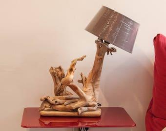 Original driftwood, vintage or Lampshade bulb lamp