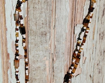 Amber, Onyx, and Chalcedony Agate Necklace