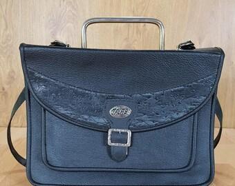Vintage Leather Shoulder Bag, The Flas, Black Bag, Crossbody Bag, Lot of Pockets, Great Condition.