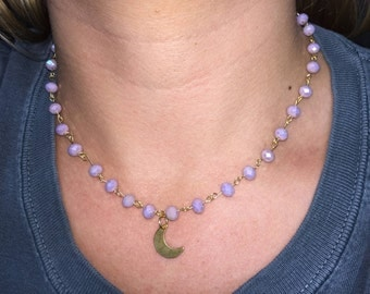 purple rosary moon necklace