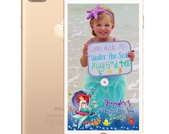 Little Mermaid/Beauty and the Beast/Frozen/Toy Story/Minions and Trolls Kid's Birthday SnapChat Filter