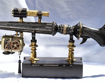 Elegant Victorian Steampunk Rifle - Cosplay / LARP gun with light and stand