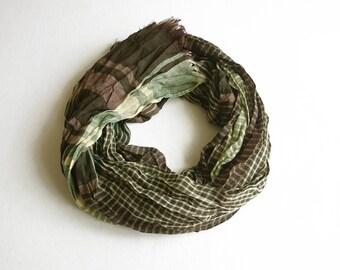 Green Crinkle Shawl, Spring Shawl, Elegance Shawl, Wrinkled Shawl, Plaid Shawl
