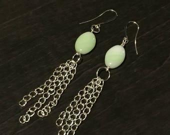 Light green glass bead dangle chain earrings