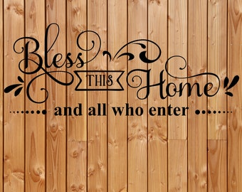 Vinyl Decal, Bless this home vinyl decal, Wall decal, Box frame vinyl decal , Bless this home and all who enter vinyl decal,