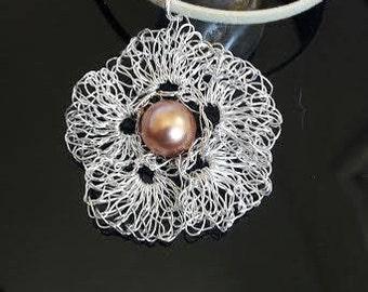 Wire Crochet flower Pendant