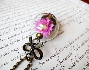 Real flower necklace, terrarium necklace, floral pendant, dried flowers necklace, dry flower necklace, vintage pendant, floral jewellery