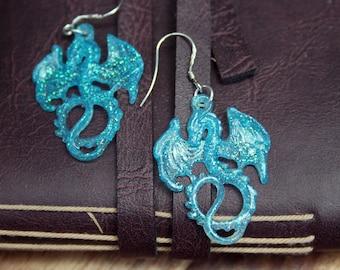 Small Blue Glitter Resin Sterling Silver Dragon Earrings