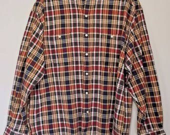 Vintage 90s Mens Tommy Hilfiger Plaid Shirt Red Green Navy White XL XLarge