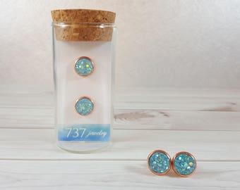 Mint Aqua Druzy Earrings, Mint Druzy Stud Earrings, Aqua Mint Druzy Stud, Blue Druzy, Mint Blue Faux Druzy, 8mm Aqua Mint Druzy Stud