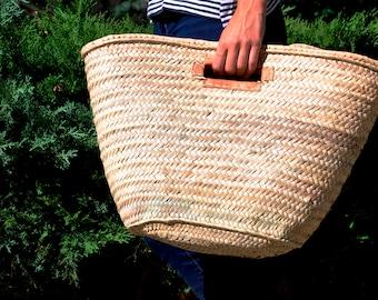 Basket straw bag, French Market bag, leather sewn handle, palm tree leaves bag, straw bag, beach bag, straw market basket