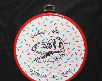 Embroidery T - Rex Jurassic Park inspired print.