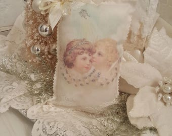 Vintage Angles Lavender Sachet Antique Christmas Angels Pillow Ivory Christmas Pillow With Silver Glitter