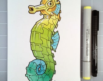 "Seahorse Robot 6"" x 9"" Original Pen and Marker Art"