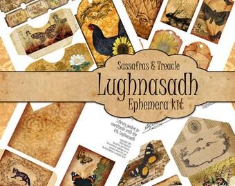 Lughnasadh Digital Journal Ephemera Kit, printable ephemera,  junk journal kit,