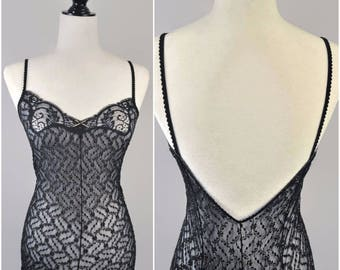 Vintage 90s Lace Bodysuit Catsuit Jumpsuit Tank Open Back Leotard Black Gold Bow Footed XS Small One Piece Onesie Goth Grunge Dance Bodycon