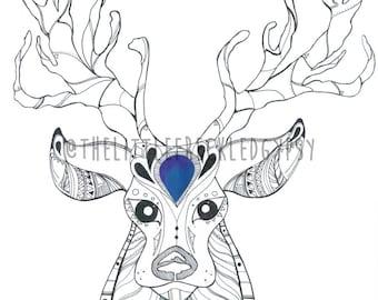 Monty Stag Deer Illustration Art Print