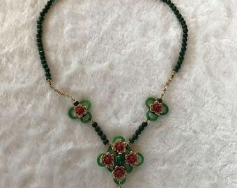 Chinese green jade and red agate minority- traditional necklace