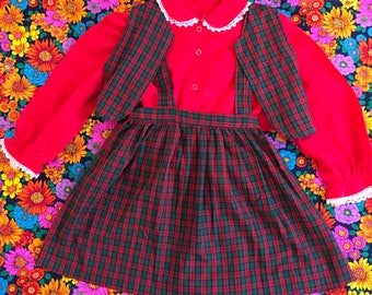 Vintage Kids Little Girl Red Green Plaid Three Piece Babydoll Dress Red Long Sleeve Peter Pan Collar Shirt Skirt With Vest Suspenders
