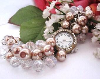 Bronze Quartz Rhinestone Watch Chunky Cluster Pearl Wrist Watch Bracelet Gift For Her, Mom, Birthday Gift