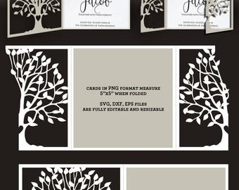 2 Tree Lace Card Templates Digital Cut SVG DXF Files Wedding Invitation Stationery Laser Cuttable Download Silhouette Cricut JB-861