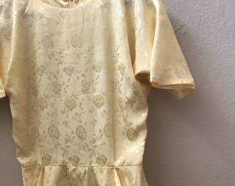 Vintage 1960s Yellow Rose Dress