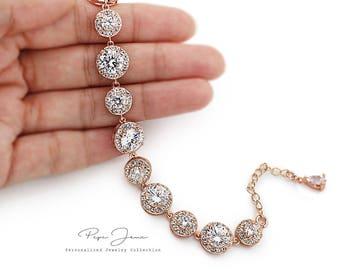Rose Gold Bridal Bracelet Wedding Bracelet Cubic Zirconia Bracelet Crystal Bracelet Wedding Jewelry Bridesmaid Bracelet Bride Bracelet