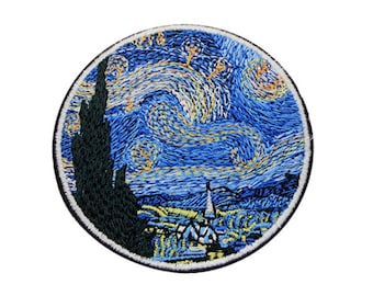 Iron on Patch - Van Gogh Patch - Art Patches - Starry Night Patch - Gift for Artist Art Student - Blue Patches UK - Unusual Patches Applique